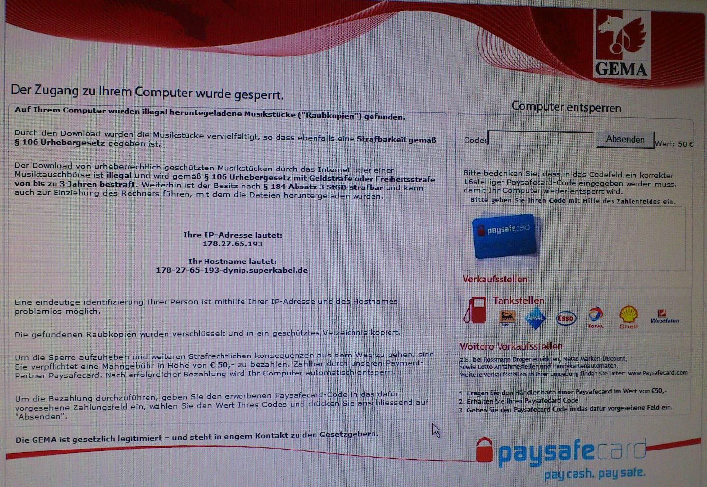 Paysafe Computer Gesperrt
