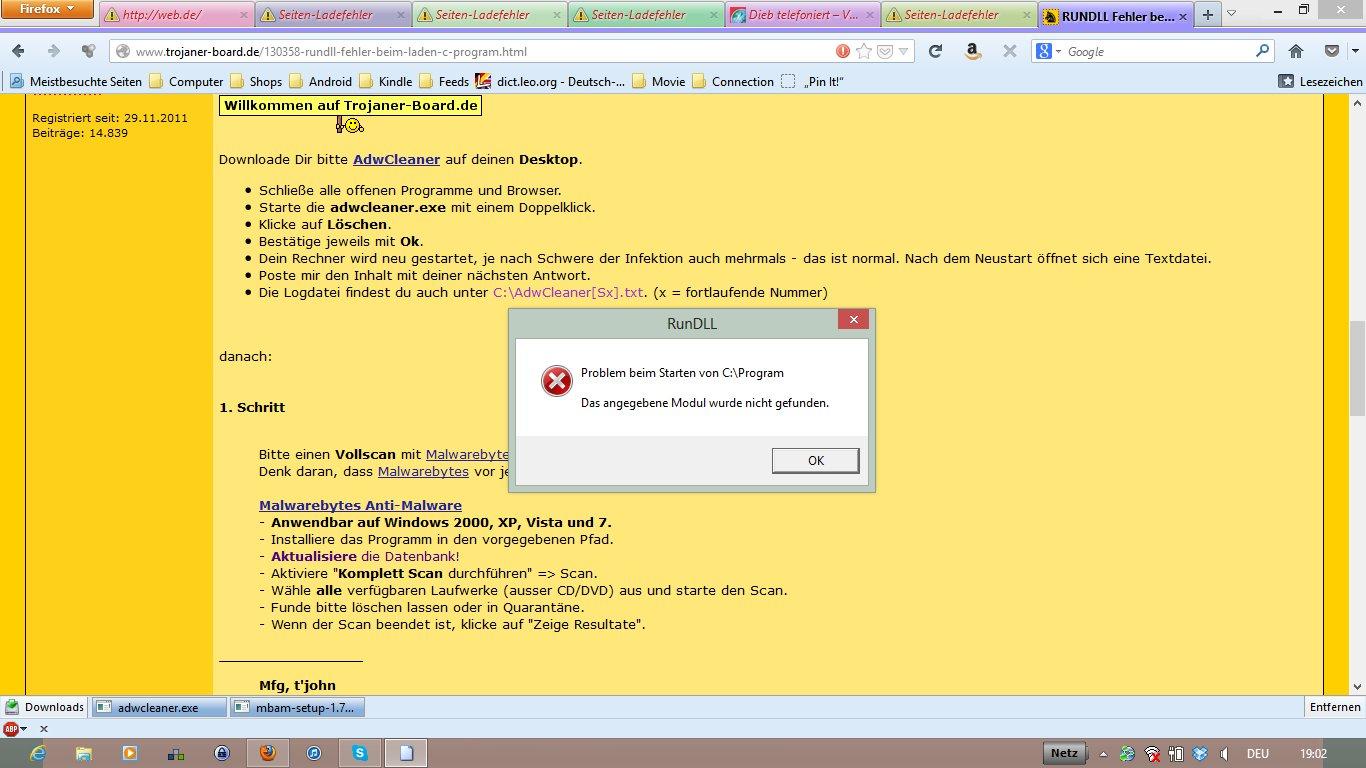RUNDLL Fehler beim laden von c:\program