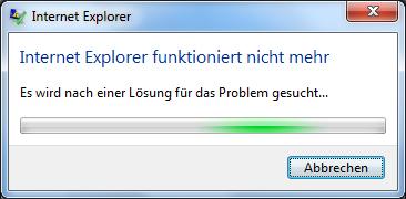 IE10 unter Win 7 64bit crashed neuerdings bei jedem Start