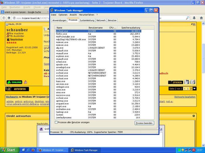 windows xp svchost.exe 100 cpu auslastung
