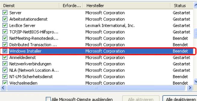 Windows Installer Defekt