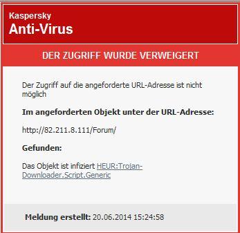 Kaspersky-Meldung : HEUR:Trojan-Downloader Script Generic