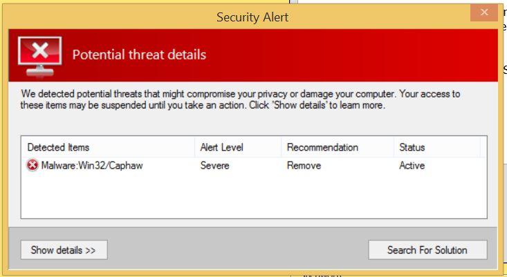 Windows 8; Security Alert