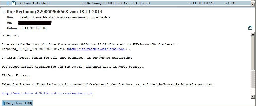 Fake Telekom Rechnung