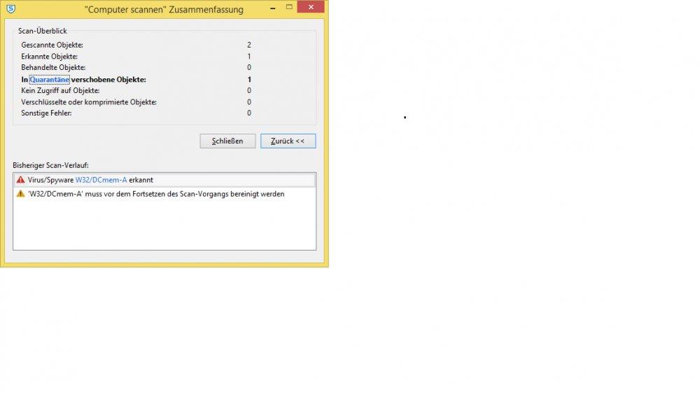 Sophos Scan bricht ab - W32/DCmem-A muss vor dem Fortsetzen des Scan ...