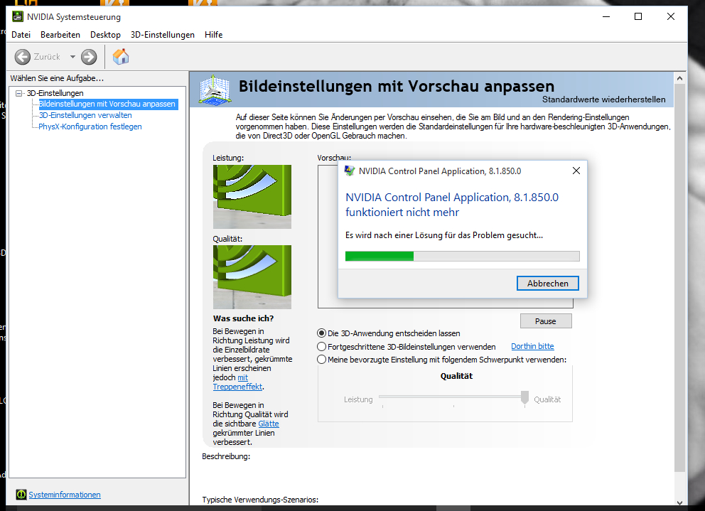 Probleme mit NVIDEA Systemsteuerung nach Windows 10 update